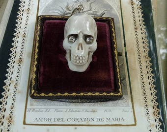 Memento Mori Skull, Hand Carved & Glowing, by RusticGypsyCreations