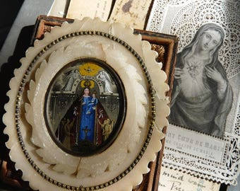 Antique French Virgin Mary & Child Relic, Notre Dame de Fourvière, offered by RusticGypsyCreations
