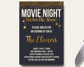 Movie Under the Stars Invitation | Movie Night | Outdoor Movie Invite | Movie Birthday Party