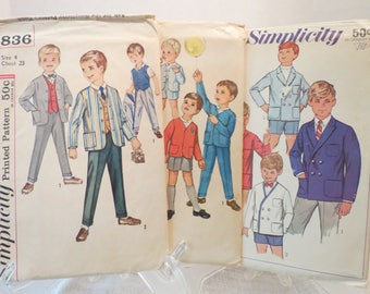 1960s Sewing Patterns ~ Simplicity 7183 Boys Size 6, 4836 Boys Size 4 and 4913 Toddler Size 3