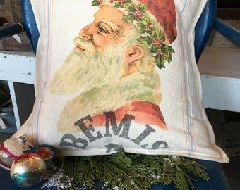 Grain Sack Pillow Cover  Bemis Santa by Gathered Comforts