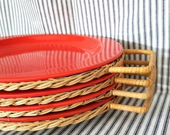 Yearly Big Sale: Vintage Solid Red Enamel BBQ Picnic Plates with Rare Original Straw Wicker Handle Holders