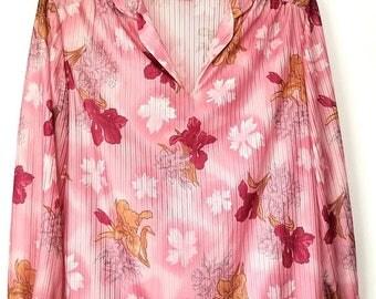 Yearly Big Sale: Vintage 70s Shirt, 18 XL Mauve Pink Tan, Semi Sheer Floral Top, Sunny South