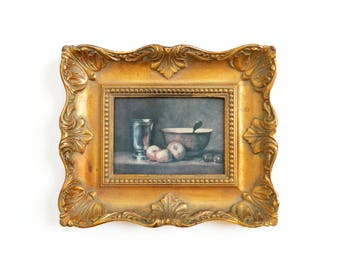 """Vintage Victorian Still Life Textured Print Picture - Apples Bowl - Gold Baroque Frame - 10"""" X 12"""" - Signed ACADEMY ARTS - Great Masters"""