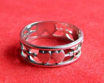Antique Art Nouveau Sterling Silver Double Heart Arrow Band Ring - Cut Work - Friendship Sweetheart Promise Wedding - Size 5 - Signed UNCAS