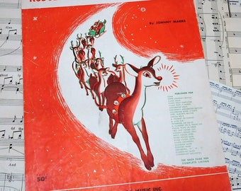 Vintage sheet music Rudolph the Red-Nosed Reindeer Christmas Music Memorabilia Ephemera Collectible Santa Clause Theme