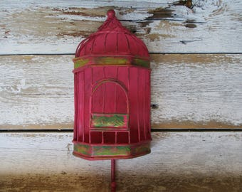 Bird Cage Wall Hook Hot Pink and Green Antiqued Distressed Farmhouse Cottage Hanger Wall Decor Decorative Metal Wrought Iron Hook  H-6
