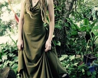 RESERVED SIZE S/M Hemp Lycra Tally-ho Backless Cowl Neck Halter Dress