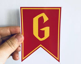 Gryffindor pennant sticker, laptop decal, water bottle sticker | any smooth surface