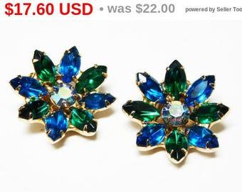 Spring Fling Sale Blue & Green Daisy Earrings - Clip on Flower Earrings - Prong Set Marquis Rhinestones - Vintage 1960's - 1970's Jewelry