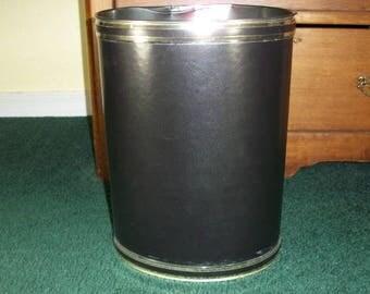 Vintage Elegance by Kraftware Black and Gold Wastebasket Metal Trash Can