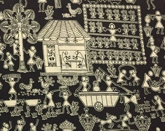 hand printed fabric, fabric by the yard, indian cotton fabric, kalamkari print, sewing fabric, dress fabric- 1 yard- ctin018
