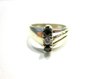 Vintage Sterling Sapphire 925 Silver Size 6 1/4 Genuine Sapphires 3 stone Ring Gift Idea for Her September Birthstone Jewelry