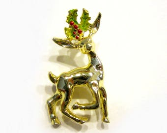 Vintage Christmas Reindeer Brooch Holly Gold Pin Vintage Jewelry Gift for Her Gift Idea Holiday Gift Christmas Stocking Stuffer