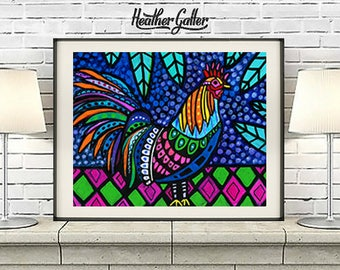 Hawaii Rooster Art Print Poster of Painting by Heather Galler Chicken in Honolulu Tropical Bird Island Jungle