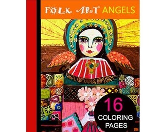 70% Off Today- 16 Folk Art Angels Digital coloring book pages, adult coloring book, coloring pages, printable coloring pages by Heather Gall