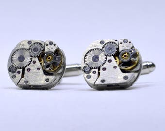 Stunning set of Rectangular watch movement cufflinks ideal gift for the birthday of a steampunk lover 92