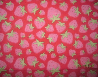 Strawberry Fabric, Strawberries Fabric, Strawberry, Shortcake, Coordinate, Fabric, Cotton, Red, Pink, Fat Quarter, FQ, 18X22, Berries