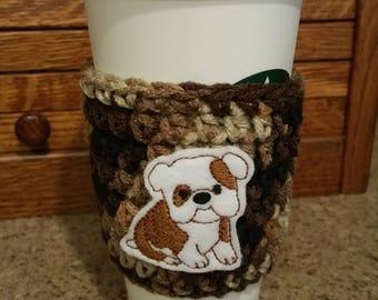 Bulldog Coffee Cozy -Cup Cozy -Bulldog Cup - Dog Cozy - Coffee Cup - Coffee Cozy
