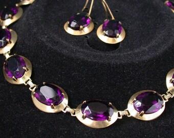 vintage antique deco victorian nouveau gold filled amethist paste stone neklace earring set