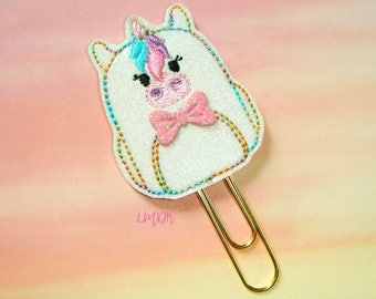 Unicorn Backpack Glitter Paperclip Planner Clip in pastel