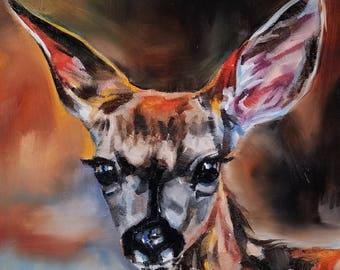 Deer art nature wildlife oil painting original fine art 6 x 6 home decor