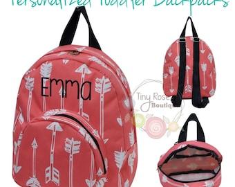 Toddler Girl Backpack - Coral Arrow Booksack - Personalized School Bag, Book Bag, Mini Backpack