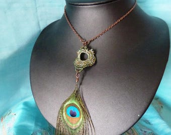 Woven glass beads and Peacock feather necklace