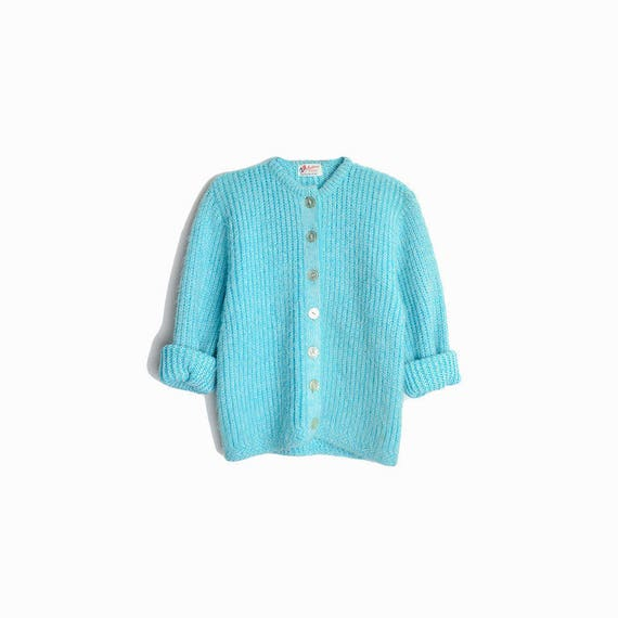 Vintage 70s Fuzzy Sky Blue Cardigan Sweater / Baby Blue Sweater - women's petite small