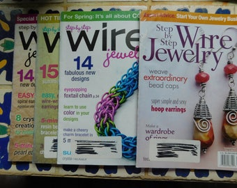 2007 and 2008 Step by Step Wire Jewelry Magazine 4 issues Collection Wire Wrapping Magazines Tutorials Wire Wrap work instructions