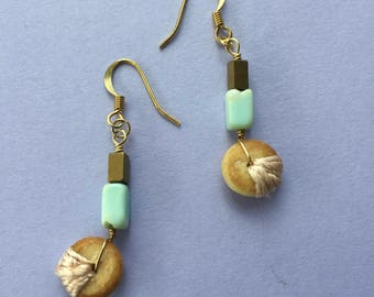 Mint Green Teal Peruvian Opal, Hematite & Embroidered Upcycled Vintage Wood Bead Earrings
