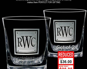 Gifts for Dad Brother Uncle Papa - Set of 2 Personalized DOUBLE OLD FASHIONED Monogram Scotch Whiskey Etched Glasses - 12oz Ships to Canada