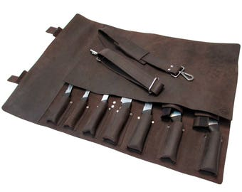 Leather Knife Roll, Leather Chefs Bag, Knife Case, Chef Bag, Knife Bag, Chef's Roll - Khampa X - Silver Buckle KR1d