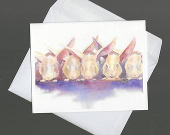 Note Card rabbit nature wildlife You Snooze You Lose bowman blank notecard portrait send a laugh humor fun carrot tv bunny bunnie wabbit