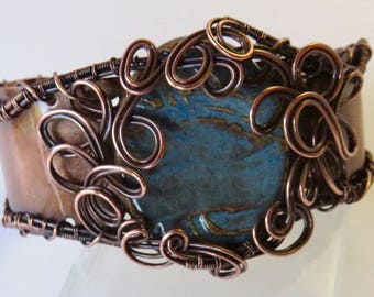 Unique Wire Wrapped Bracelet - Wire Wrapped Copper Bracelet - Wide Copper Cuff - Hammered Copper Cuff Bracelet - Copper Wire Wrap Jewelry