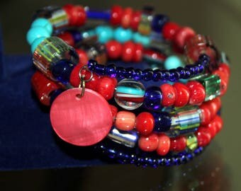 Red Coral and Lampwork Bead Wrist Wrap Cuff Bracelet