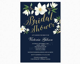Magnolia Flowers Bridal Shower Invitation, Magnolia Flowers, Navy Blue, Cream, Gold Glitter, Personalized, Printable or Printed