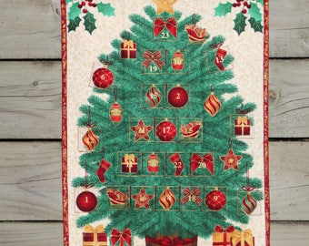 Advent Calendar Traditional Christmas Tree Wallhanging, Holiday Decor, Christmas Decoration