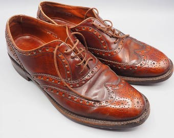Vintage Genuine Light Brown Leather Mens Dress Wingtips Brogues Size 9