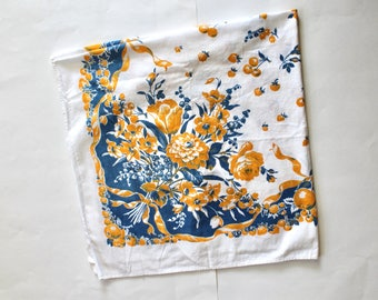 Vintage 1940s/1950s Blue and Yellow Floral and Fruit Print Tablecloth 39 Inches Square