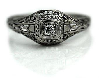 Art Deco Ring .08ctw European Cut Diamond 14K White Gold Filigree 1930s Ring