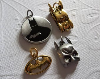 Batman Charms - D.C. Comics Originals - Antiqued Silver & Gold - Batman Mask - Bat Car - Bat Logo - Round Pendant - Qty 4