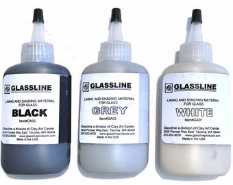 Glassline Fusing Glass Paints Black Grey White Monochrome Set of 3