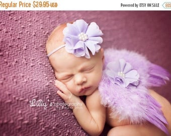 ON SALE Lavender feather wing set, wings and headband, newborn photo prop, baby wings, newborn photo prop, baby girl prop