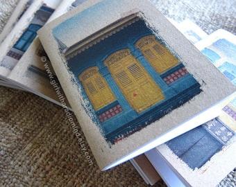 Small Notebook Gift Yellow Windows 24 - Singapore Shophouses - Yellow Windows Turquoise Wall - Mini Travel Pocket Size