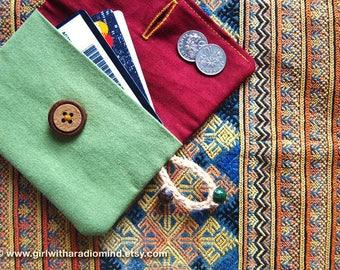 Coin Purse / Card Holder - Forest Folk Handmade Small Size Pocket Wallet - Green Maroon Combination