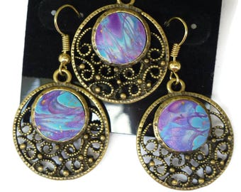 Polymer Clay Earring and Pendant