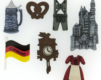 Germany Button Embellishments 7pc