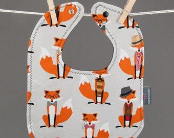 Bib in Grey Dapper Foxes Fabric, Snap Bib, Fox Baby Bib, Toddler Bib, Cotton Baby Bib, Shower Gift Under 20, Foxes Nursery, Fox Baby Gift