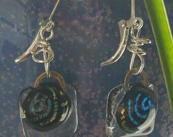 Swirl dichroic square glass dangle earrings